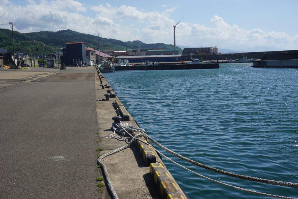 東堤防の近くの漁港前の様子